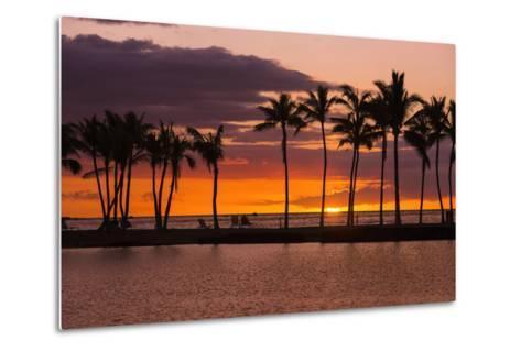 Sunset Through Silhouetted Palms at Anaehoomalu Bay, Kohala Coast, the Big Island, Hawaii, Usa-Russ Bishop-Metal Print