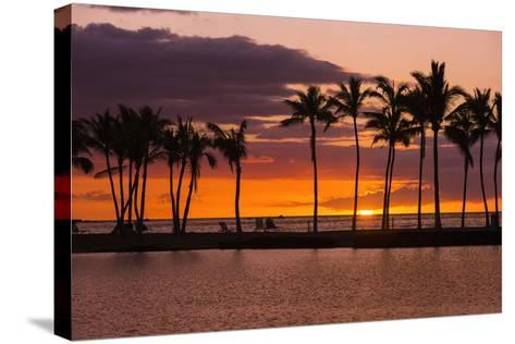 Sunset Through Silhouetted Palms at Anaehoomalu Bay, Kohala Coast, the Big Island, Hawaii, Usa-Russ Bishop-Stretched Canvas Print