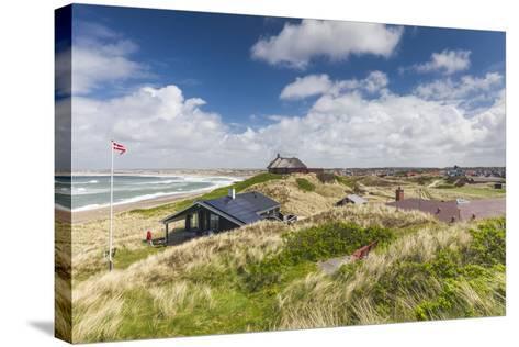 Denmark, Jutland, Klitmoller, Windsurfing Capital of Denmark, Houses in Dunes-Walter Bibikow-Stretched Canvas Print
