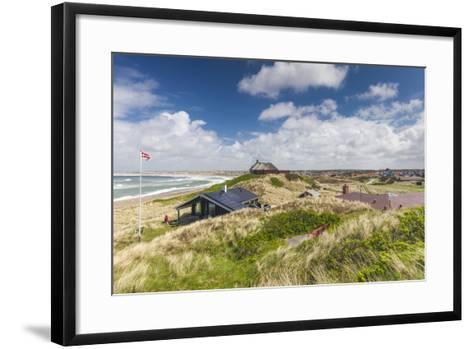Denmark, Jutland, Klitmoller, Windsurfing Capital of Denmark, Houses in Dunes-Walter Bibikow-Framed Art Print