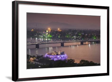 Vietnam, Hue. Trang Tien Bridge and Perfume River, Elevated View, Dusk-Walter Bibikow-Framed Art Print