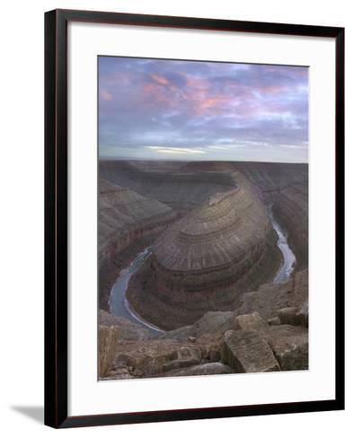 Sunset at Goosenecks of the San Juan River, Utah-Tim Fitzharris-Framed Art Print