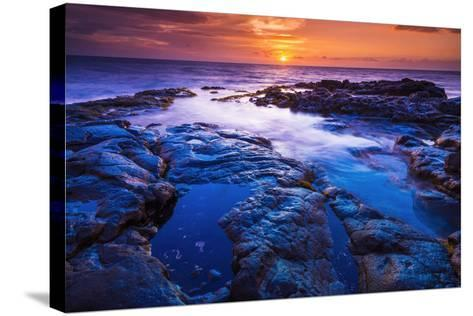 Sunset and Tide Pool Above the Pacific, Kailua-Kona, Hawaii-Russ Bishop-Stretched Canvas Print