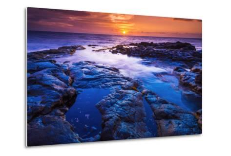 Sunset and Tide Pool Above the Pacific, Kailua-Kona, Hawaii-Russ Bishop-Metal Print