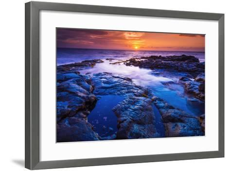 Sunset and Tide Pool Above the Pacific, Kailua-Kona, Hawaii-Russ Bishop-Framed Art Print