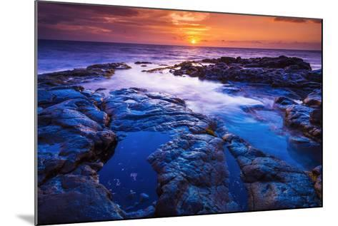 Sunset and Tide Pool Above the Pacific, Kailua-Kona, Hawaii-Russ Bishop-Mounted Photographic Print