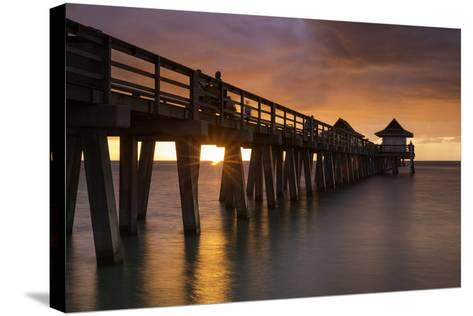 Sunset over the Pier and Gulf of Mexico, Naples, Florida, Usa-Brian Jannsen-Stretched Canvas Print