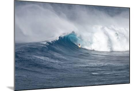 Hawaii Maui. Kyle Lenny Surfing Monster Waves at Pe'Ahi Jaws-Janis Miglavs-Mounted Photographic Print