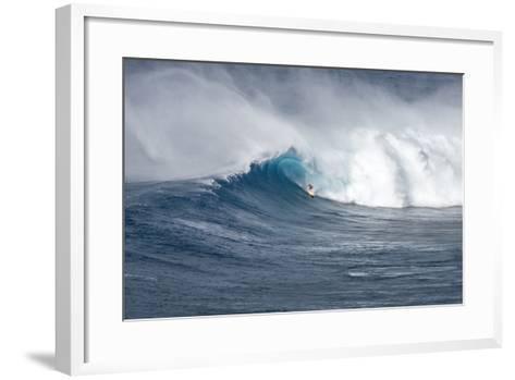 Hawaii Maui. Kyle Lenny Surfing Monster Waves at Pe'Ahi Jaws-Janis Miglavs-Framed Art Print