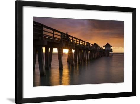 Sunset over the Pier and Gulf of Mexico, Naples, Florida, Usa-Brian Jannsen-Framed Art Print