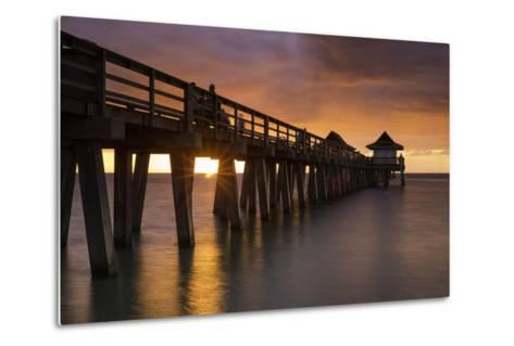 Sunset over the Pier and Gulf of Mexico, Naples, Florida, Usa-Brian Jannsen-Metal Print