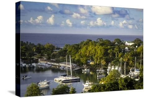 Setting Sun over the Tiny Harbor in Castries, St. Lucia, West Indies-Brian Jannsen-Stretched Canvas Print