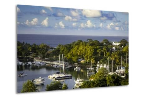 Setting Sun over the Tiny Harbor in Castries, St. Lucia, West Indies-Brian Jannsen-Metal Print