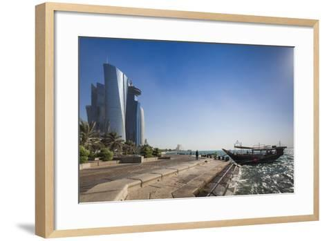Qatar, Doha, Doha Bay, West Bay Skyscrapers from the Corniche, Morning-Walter Bibikow-Framed Art Print