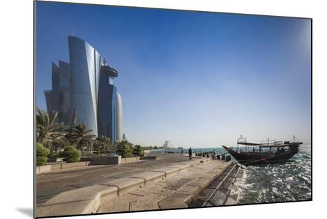 Qatar, Doha, Doha Bay, West Bay Skyscrapers from the Corniche, Morning-Walter Bibikow-Mounted Photographic Print