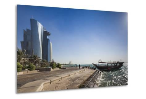 Qatar, Doha, Doha Bay, West Bay Skyscrapers from the Corniche, Morning-Walter Bibikow-Metal Print