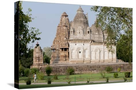 India, Khajuraho, Madhya Pradesh State Temple from the Chandella Dynasty and Grounds-Ellen Clark-Stretched Canvas Print
