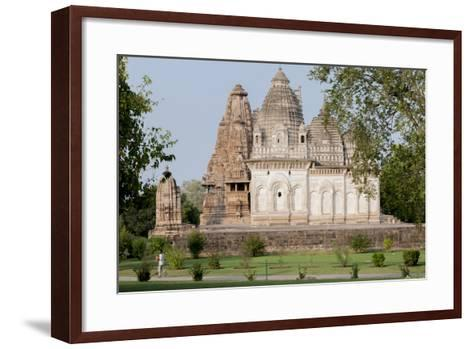 India, Khajuraho, Madhya Pradesh State Temple from the Chandella Dynasty and Grounds-Ellen Clark-Framed Art Print
