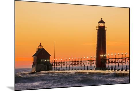 Grand Haven South Pier Lighthouse at Sunset on Lake Michigan, Ottawa County, Grand Haven, Michigan-Richard and Susan Day-Mounted Photographic Print