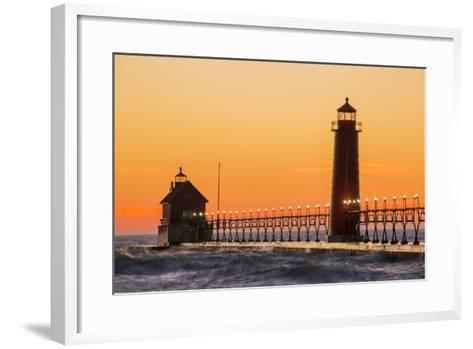 Grand Haven South Pier Lighthouse at Sunset on Lake Michigan, Ottawa County, Grand Haven, Michigan-Richard and Susan Day-Framed Art Print