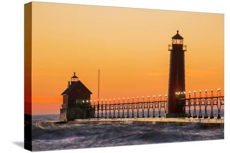 Grand Haven South Pier Lighthouse at Sunset on Lake Michigan, Ottawa County, Grand Haven, Michigan-Richard and Susan Day-Stretched Canvas Print