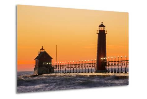 Grand Haven South Pier Lighthouse at Sunset on Lake Michigan, Ottawa County, Grand Haven, Michigan-Richard and Susan Day-Metal Print