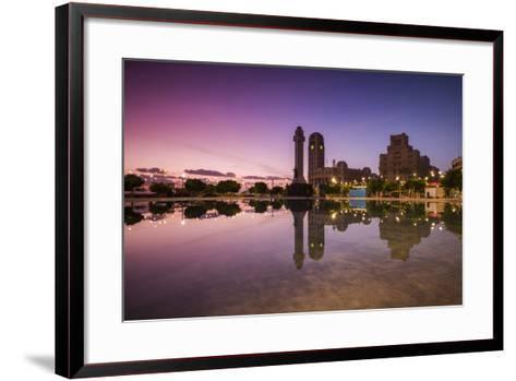 Spain, Canary Islands, Tenerife, Santa Cruz De Tenerife, Plaza De Espana, City Reflection, Dawn-Walter Bibikow-Framed Art Print