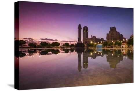 Spain, Canary Islands, Tenerife, Santa Cruz De Tenerife, Plaza De Espana, City Reflection, Dawn-Walter Bibikow-Stretched Canvas Print