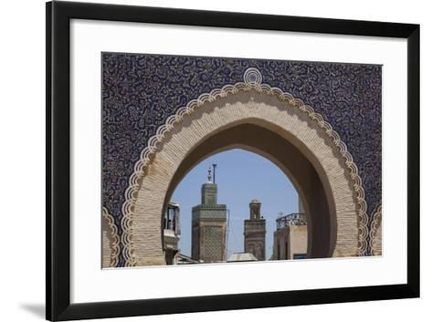 Africa, Morocco, Fes. an Arch with Classic Moorish Decor Frames Two Minarets-Brenda Tharp-Framed Art Print