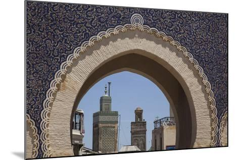 Africa, Morocco, Fes. an Arch with Classic Moorish Decor Frames Two Minarets-Brenda Tharp-Mounted Photographic Print