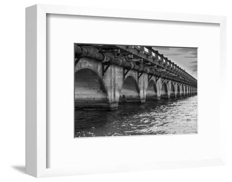 Black and White Horizontal Image of an Old Arch Bridge in Near Ramrod Key, Florida-James White-Framed Art Print