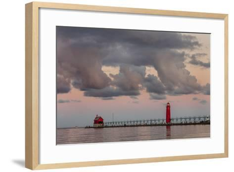 Sunrise Clouds over Lake Michigan and the Grand Haven Lighthouse in Grand Haven, Michigan, Usa-Chuck Haney-Framed Art Print