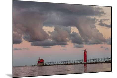 Sunrise Clouds over Lake Michigan and the Grand Haven Lighthouse in Grand Haven, Michigan, Usa-Chuck Haney-Mounted Photographic Print