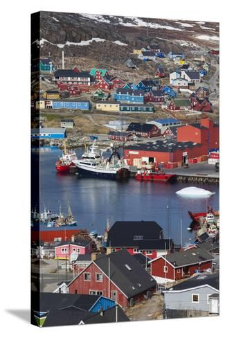 Greenland, Qaqortoq, Elevated View of Town and Harbor-Walter Bibikow-Stretched Canvas Print