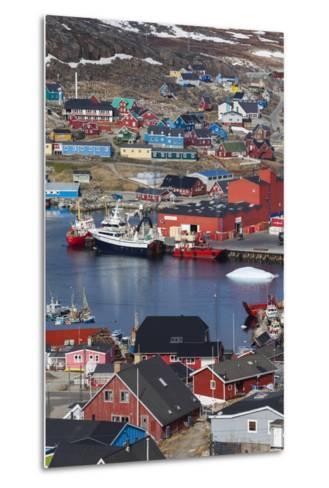 Greenland, Qaqortoq, Elevated View of Town and Harbor-Walter Bibikow-Metal Print