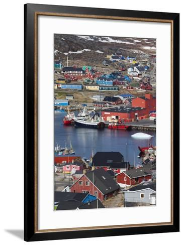 Greenland, Qaqortoq, Elevated View of Town and Harbor-Walter Bibikow-Framed Art Print