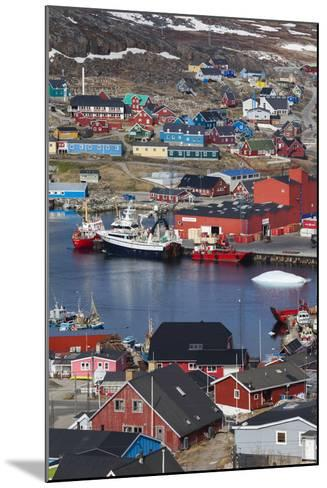 Greenland, Qaqortoq, Elevated View of Town and Harbor-Walter Bibikow-Mounted Photographic Print