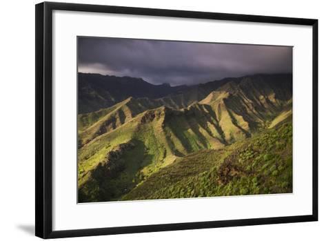 Spain, Canary Islands, La Gomera, Valle De Hermigua, Mountain Landscape, Dawn-Walter Bibikow-Framed Art Print