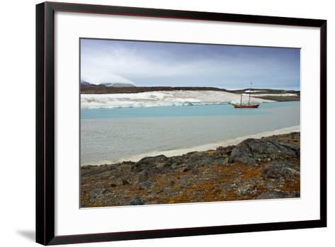 Arctic, Svalbard, Wilhelmoya. a Schooner Anchors in a Remote Fjord on the East Coast of Spitsbergen-David Slater-Framed Art Print