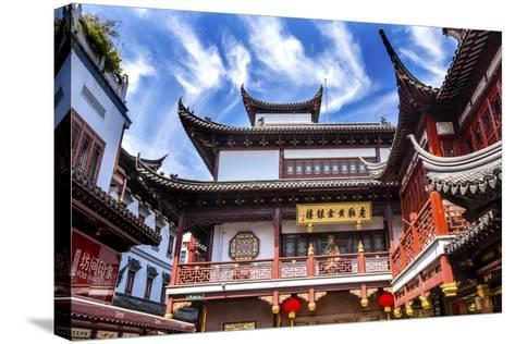 Old Shanghai Houses, Red Roofs, Yuyuan Old Town, Shanghai, China-William Perry-Stretched Canvas Print