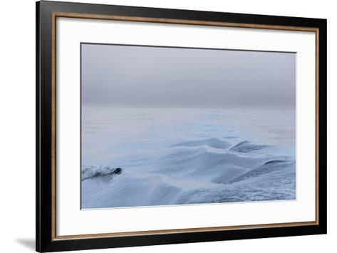 Washington State, Puget Sound Wake Patterns on Calm Water Reflecting Moody Light. Dense Fog-Trish Drury-Framed Art Print