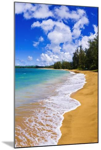 Empty Beach and Blue Pacific Waters on Hanalei Bay, Island of Kauai, Hawaii-Russ Bishop-Mounted Photographic Print