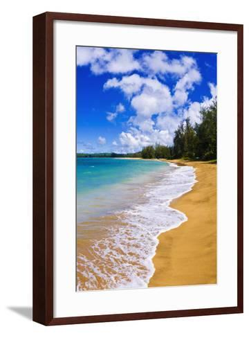 Empty Beach and Blue Pacific Waters on Hanalei Bay, Island of Kauai, Hawaii-Russ Bishop-Framed Art Print