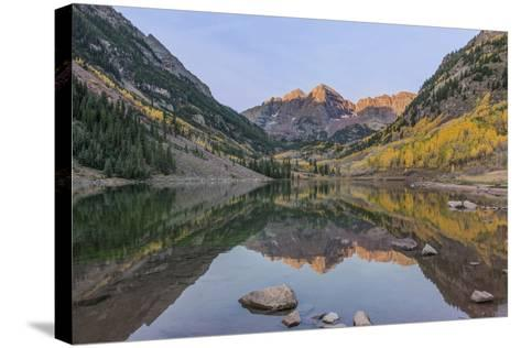 Colorado, White River National Forest, Maroon Bells with Autumn Color at First Light-Rob Tilley-Stretched Canvas Print