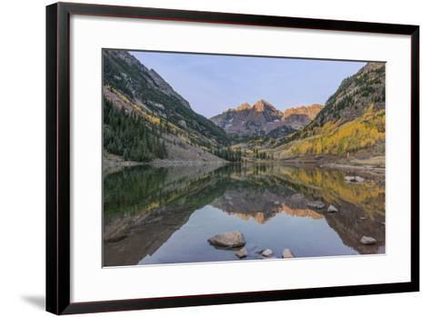 Colorado, White River National Forest, Maroon Bells with Autumn Color at First Light-Rob Tilley-Framed Art Print