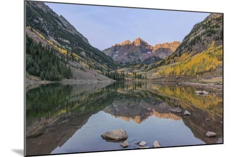 Colorado, White River National Forest, Maroon Bells with Autumn Color at First Light-Rob Tilley-Mounted Photographic Print