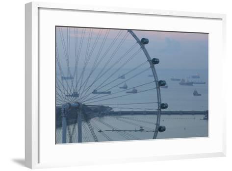 Singapore, Singapore Flyer, Giant Ferris Wheel, Elevated View, Dawn-Walter Bibikow-Framed Art Print