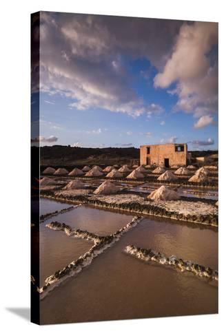 Spain, Canary Islands, Lanzarote, El Golfo, Salinas De Janubio, Salt Evaporation Pans, Sunset-Walter Bibikow-Stretched Canvas Print