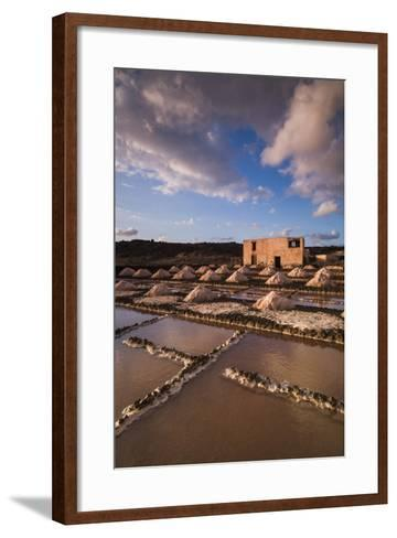 Spain, Canary Islands, Lanzarote, El Golfo, Salinas De Janubio, Salt Evaporation Pans, Sunset-Walter Bibikow-Framed Art Print
