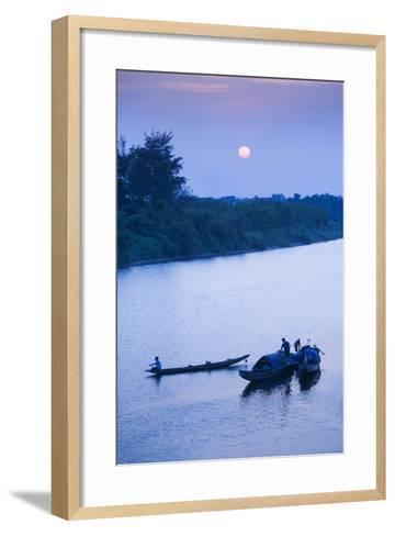 Vietnam, Dmz Area. Dong Ha, Cam Lo River, Boats at Sunset-Walter Bibikow-Framed Art Print